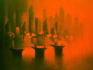 Evening in Banaras by Somnath Bothe, , , Orange color