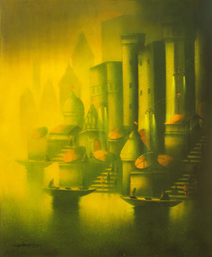 Golden Banaras by Somnath Bothe, , , Green color