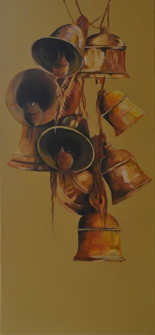 Faith 18 by Prasoon Poddar, Realism Painting, Mixed Media on Canvas, Brown color