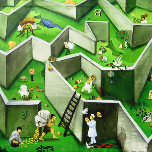 Proverb 1 by Sunil Lohar, Conceptual Painting, Acrylic on Canvas, Green color