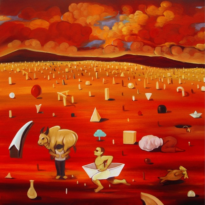 Proverb 3 by Sunil Lohar, Conceptual Painting, Acrylic on Canvas, Red color