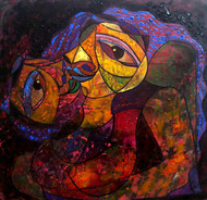 Honeymoon by Lipika Bala Chakraborty, Cubism Painting, Acrylic on Canvas, Brown color