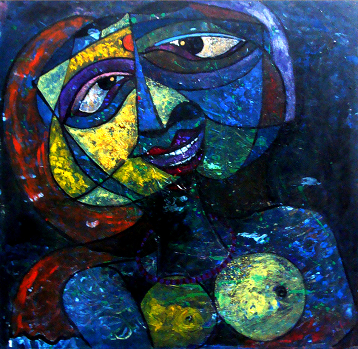 Behalf by Lipika Bala Chakraborty, Cubism Painting, Acrylic on Canvas, Blue color