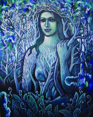 Neelambari by Rupchand Kundu, Decorative , Oil on Canvas, Blue color