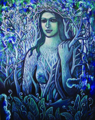 Neelambari by Rupchand Kundu, Decorative , Oil on Canvas, Blue color