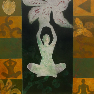 Meditation 23 by Raju Sarkar, Conceptual Painting, Acrylic on Canvas, Brown color