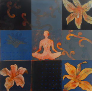 meditation 24 by Raju Sarkar, Conceptual Painting, Acrylic on Canvas, Brown color