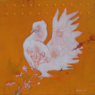 Bird with Flower 11 by Raju Sarkar, Abstract Painting, Acrylic on Canvas, Orange color