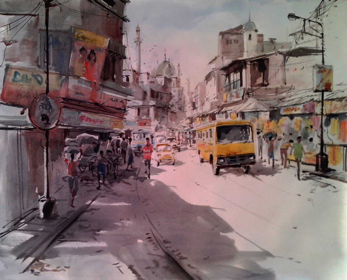 Kolkata VIII by Susanta Das, Impressionism Painting, Watercolor on Paper, Brown color
