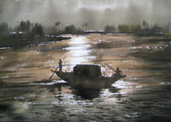 Rest Time by Rajat Subhra Bandopadhyay, Decorative Painting, Watercolor on Paper, Gray color