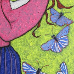 A Girl Playing With Blue Butterflies Digital Print by Shivayogi Mogali,Expressionism