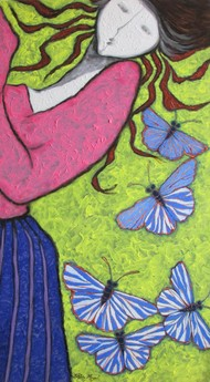 A Girl Playing With Blue Butterflies by Shivayogi Mogali, Expressionism Painting, Acrylic on Canvas, Green color