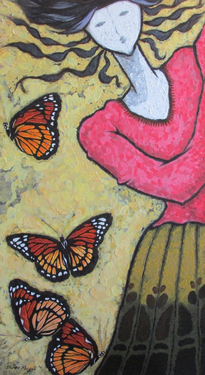 A Girl With Monarch Butterflies by Shivayogi Mogali, Expressionism Painting, Acrylic on Canvas, Brown color