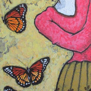 A Girl With Monarch Butterflies Digital Print by Shivayogi Mogali,Expressionism