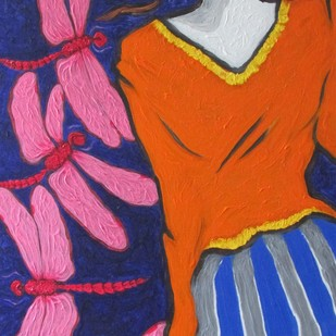 A Girl With Pink Dragonflies Digital Print by Shivayogi Mogali,Expressionism