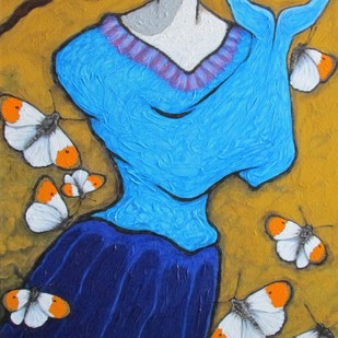 White Wings With Orange Tips Digital Print by Shivayogi Mogali,Expressionism