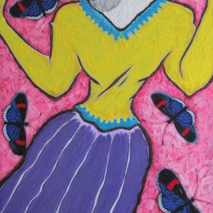 A Girl with Black Butterflies by Shivayogi Mogali, Expressionism Painting, Acrylic on Canvas, Blue color