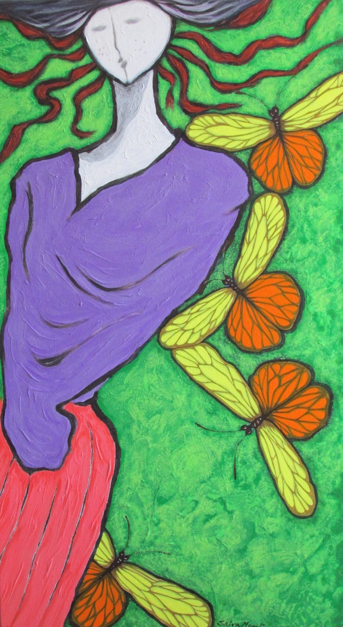 With Colourful Wings Of Butterflies by Shivayogi Mogali, Expressionism Painting, Acrylic on Canvas, Green color