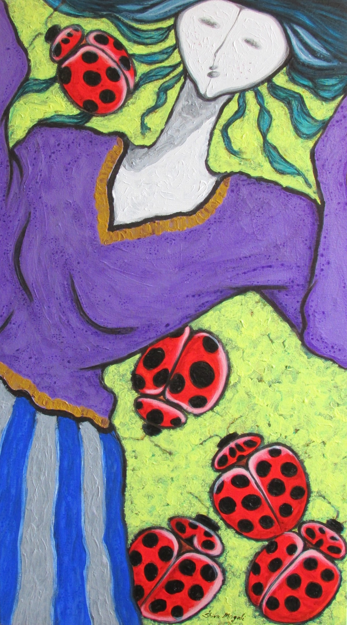 A Girl With Lady Bugs Digital Print by Shivayogi Mogali,Expressionism
