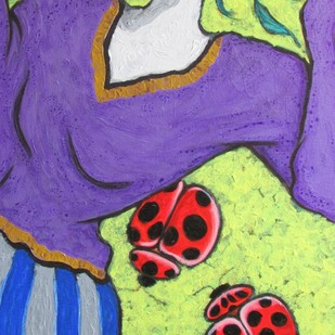 A Girl With Lady Bugs Digital Print by Shivayogi Mogali,Expressionism