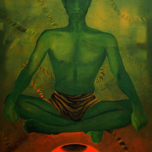 Untitled by Satish Multhalli, Conceptual Painting, Acrylic on Canvas, Green color