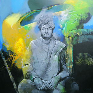 Tribute to Swamiji 1 by Pradip Sengupta, Conceptual Painting, Acrylic on Canvas, Green color