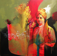 Tribute to Swamiji 2 by Pradip Sengupta, Conceptual Painting, Acrylic on Canvas, Brown color
