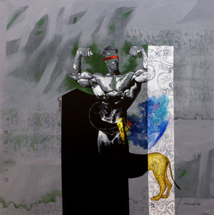 Leo the Great by Pradip Sengupta, Conceptual Painting, Acrylic on Canvas, Gray color