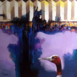 Sharp Look by Pradip Sengupta, Conceptual Painting, Acrylic on Canvas, Blue color