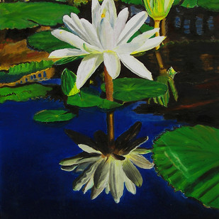 Water Lily 2 by Sulakshana Dharmadhikari, Decorative Painting, Oil on Canvas, Green color