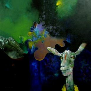Plastic Smile by Pradip Sengupta, Conceptual Painting, Acrylic on Canvas, Green color