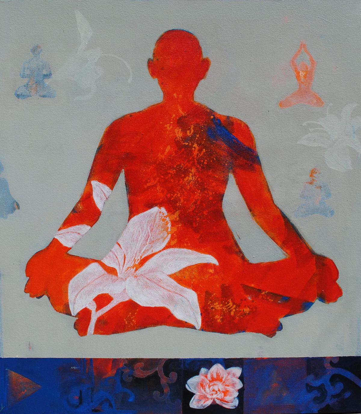 Meditation 25 by Raju Sarkar, Conceptual Painting, Acrylic on Canvas, Gray color