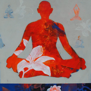 Meditation 25 by Raju Sarkar, Conceptual Painting, Acrylic on Canvas, Gray color