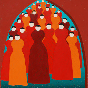 Under the Arch by Hemavathy Guha, Decorative Painting, Oil on Canvas, Red color