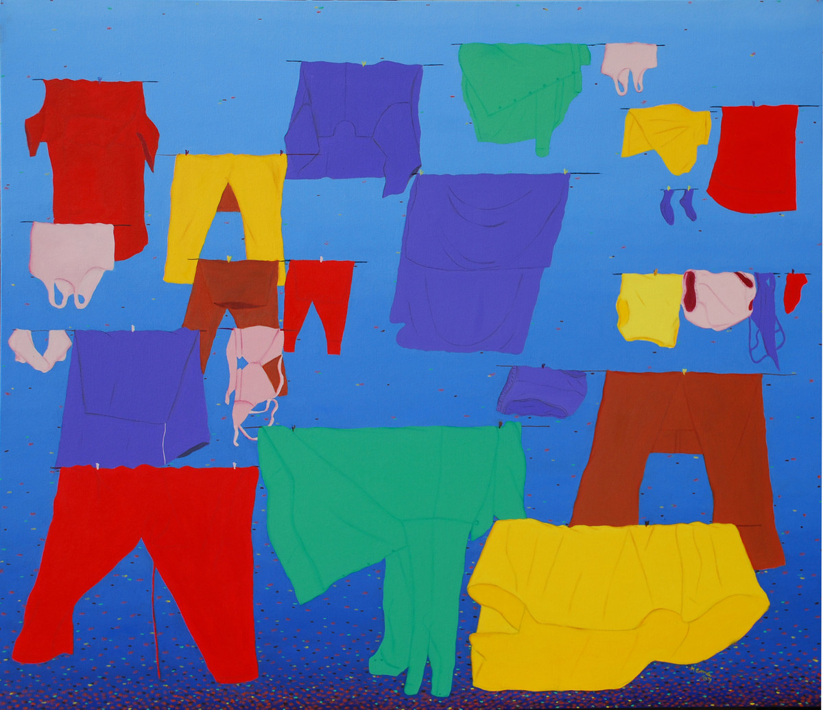 The Cloth Line - I by Hemavathy Guha, Pop Art Painting, Oil & Acrylic on Canvas, Blue color