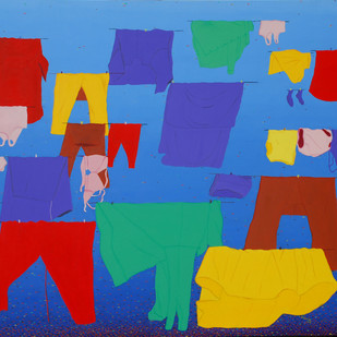 Name hemavathy guha title the cloth line med oil  acrylic on canvas size 128x107 cm year 2007
