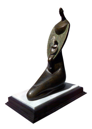 Mother & Child by Subrata Paul, Art Deco Sculpture | 3D, Bronze, White color