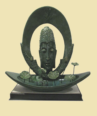 Meditation by Subrata Paul, Art Deco Sculpture | 3D, Fiber Glass, Yellow color