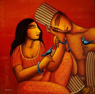Love for Ever by Samir Sarkar, Painting, Acrylic on Canvas, Red color
