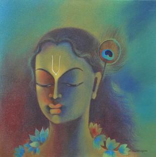 Krishna by Manisha Raju, Painting, Acrylic on Canvas, Green color