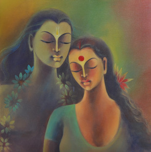 Divine Affection by Manisha Raju, Decorative Painting, Acrylic on Canvas, Brown color