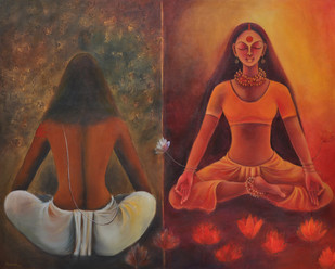 Independent Journey by Manisha Raju, Decorative Painting, Acrylic on Canvas, Brown color