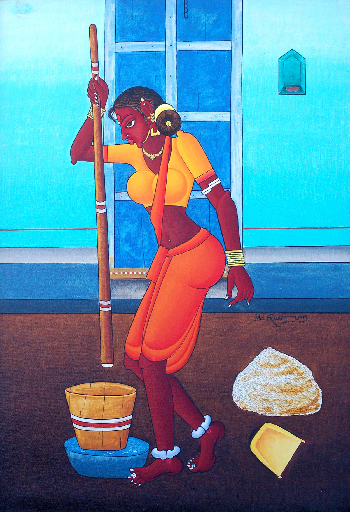 Danchudu by M D Rustum, Painting, Oil on Canvas, Cyan color