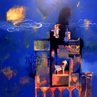 Home Sweet Home by Pradip Sengupta, , , Blue color