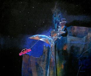 Balance by Pradip Sengupta, Conceptual Painting, Acrylic on Canvas, Blue color