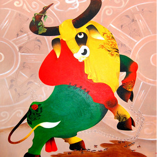 Bull and Ant by Uttam Manna, Decorative Painting, Acrylic on Canvas, Beige color