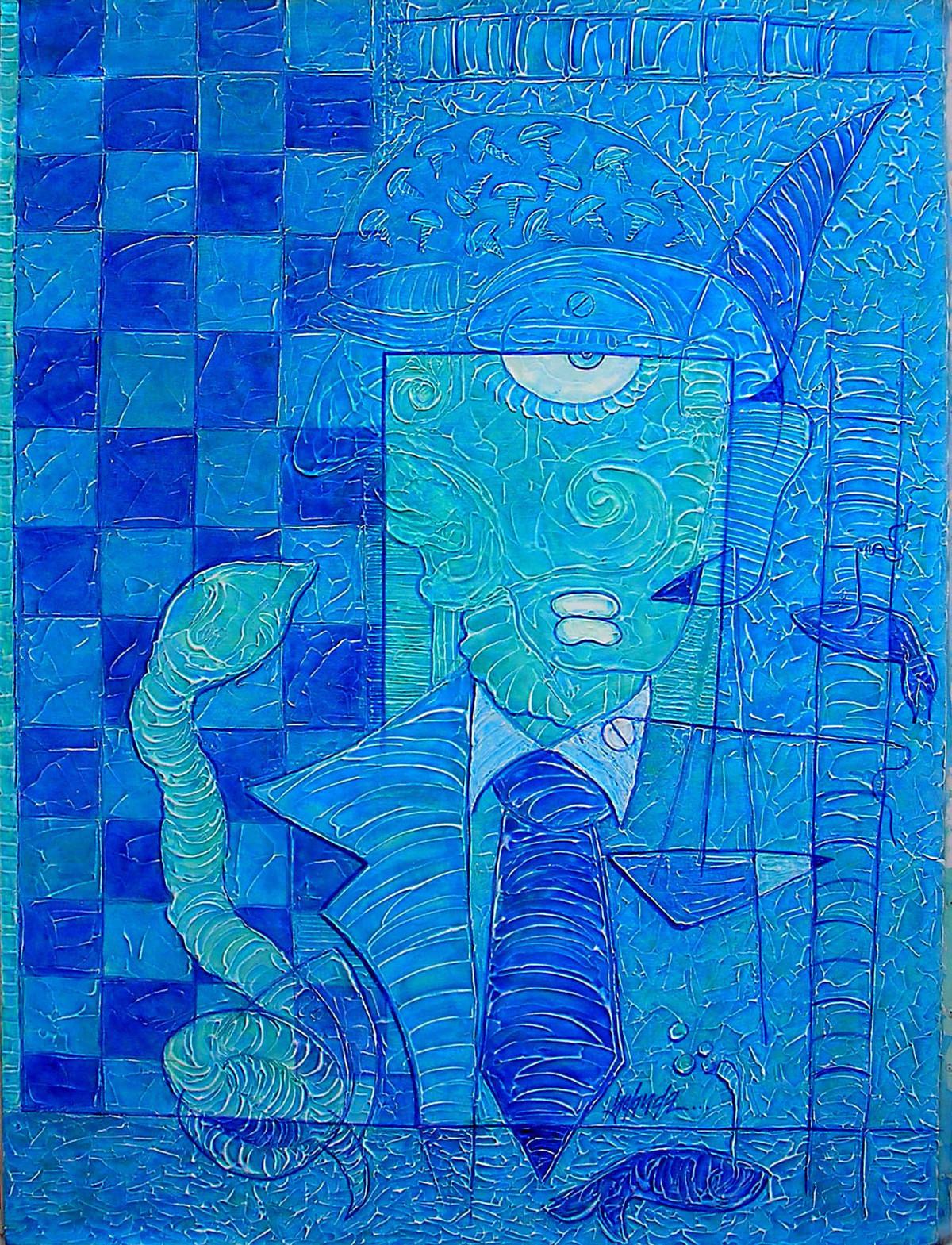 Hamadrayad by Yolanda Sousa Kammermeier, Expressionism Painting, Acrylic on Canvas, Blue color