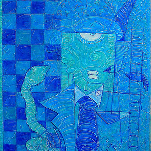 Hamadrayad by Yolanda Sousa Kammermeier, Expressionism Painting, Acrylic on Canvas, Blue color