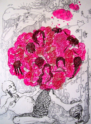 Pink Mania by Sudatta Basu, Conceptual Drawing, Color Pencil on Paper, Pink color