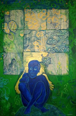 Old Age by Sudatta Basu, Conceptual Painting, Acrylic on Canvas, Green color